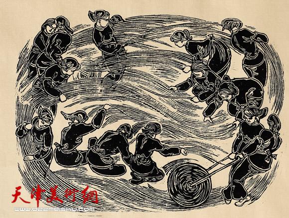 王绍棠作品《苇乡织女》木刻