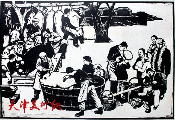 王绍棠作品《宰杀图》木刻