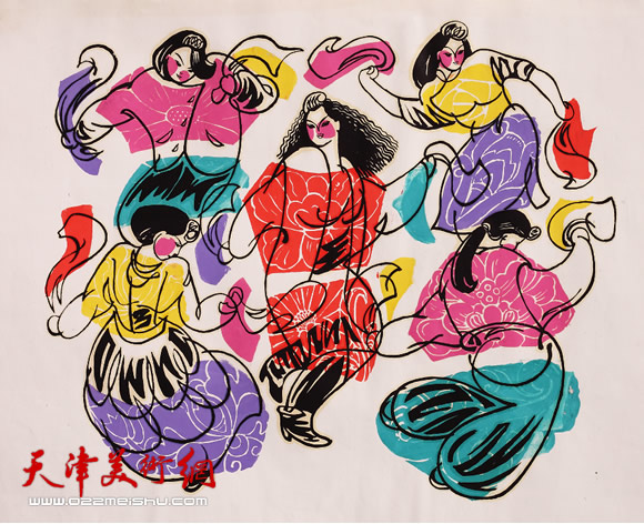 王绍棠作品《大秧歌》 丝网版