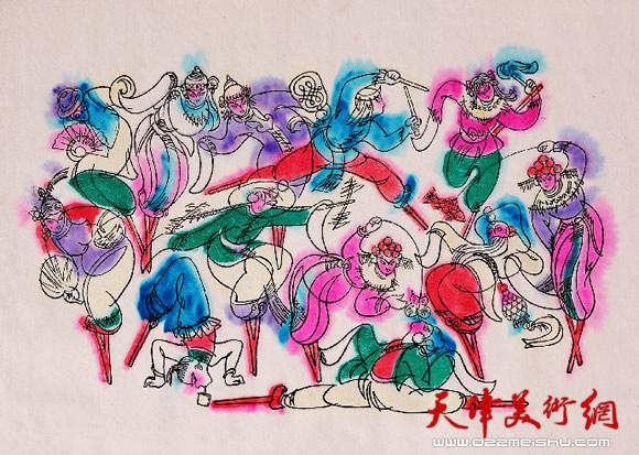 王绍棠作品《登云会》 丝网版