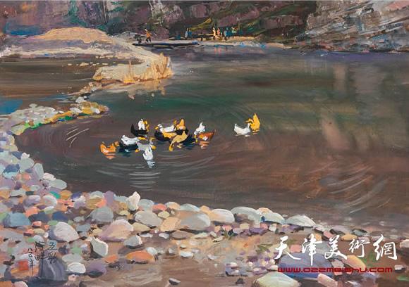 王绍棠作品《彩色河畔》 水粉