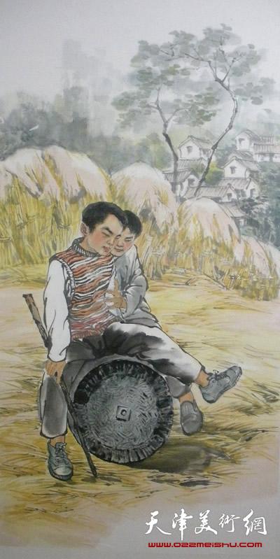 王绍棠作品《打谷场》国画