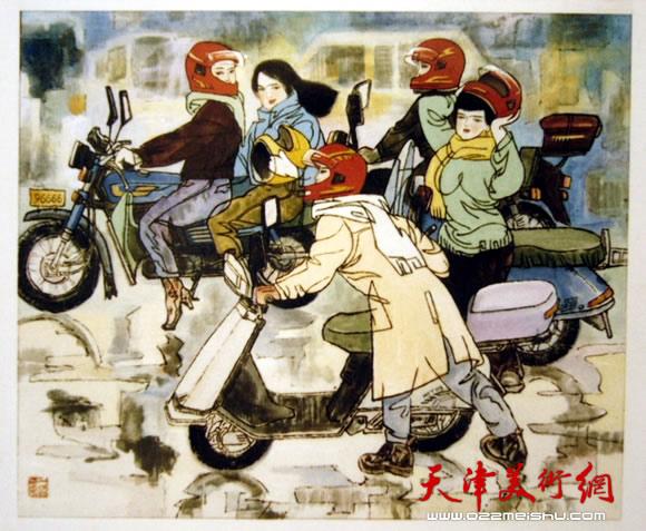 王绍棠作品《红头盔》国画