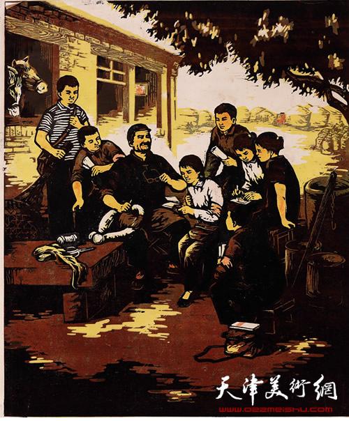王绍棠作品《小记者》套色木刻