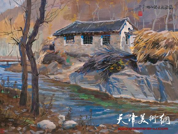 王绍棠作品《石磨坊》水粉
