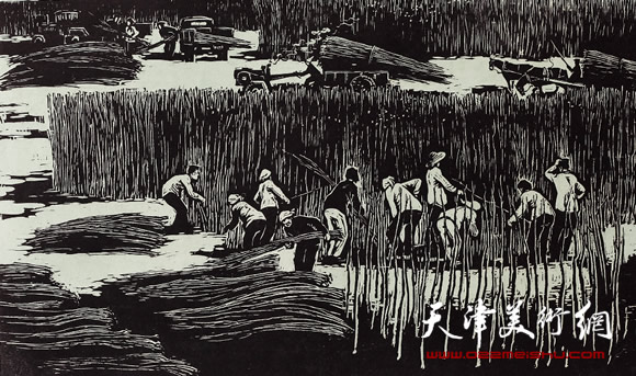 王绍棠作品《出圃》 木刻