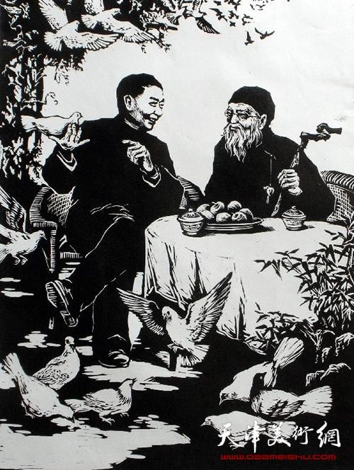 王绍棠作品《和平—梅兰芳与齐白石》 木刻