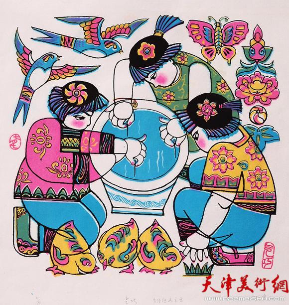 王绍棠作品《乡情—乞巧》丝网版