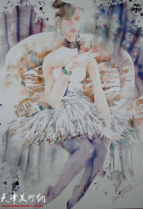 王刚水彩作品:《白纱裙》