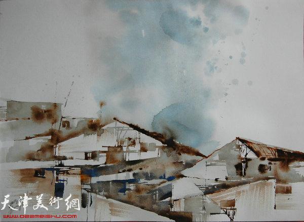 王刚水彩作品:《工厂》