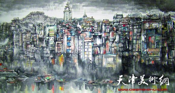 赵俊山作品《晨曦中的万县码头》