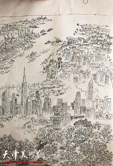 赵俊山作品《海天东胜新景》滨海新区政府 12米 7米 钢笔画草图
