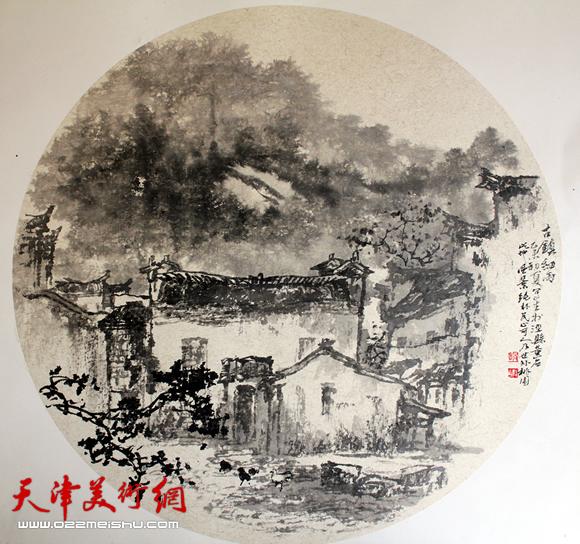 赵俊山作品《古镇细雨》