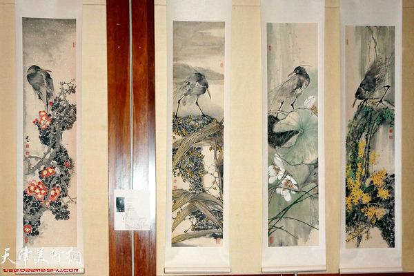 """图为""""海上丝路传风韵""""五彩贝中国画展展出的史玉作品"""