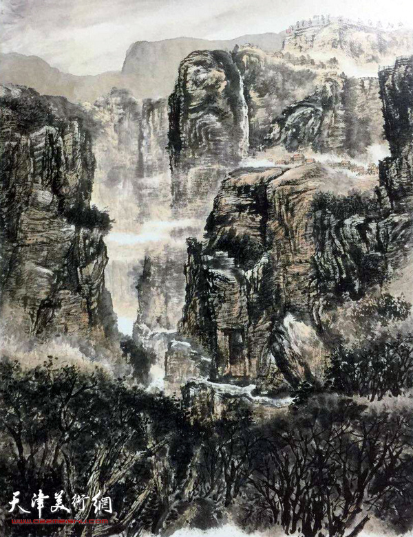 孟宪奎参加第十二届全国美展作品:《太行人家》(