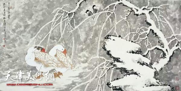 李云涛作品。 中国画色彩与意的关系 文/李云涛 中国文人水墨画家是重墨而轻色的,大千世界纷繁复杂的色彩关系都被归于墨分五色然而中国古典的色彩美学思想却不尽如此。专门研究东方色彩学的李广元先生说:东方古典色彩美学思想最早的在色彩世界作出自然的选择。经过两千多年的发展它在装饰、象征、模仿、表现几方面以自发精神层次走向自觉精神层次,尤其是表现意象方面它将东方色彩美学思想发展到及至的境地。这是它的特殊性也是它的局限性。由于中国水墨画家重墨而轻色,墨之五色胜五彩的局限东方色彩显得失去生机,特别是在近
