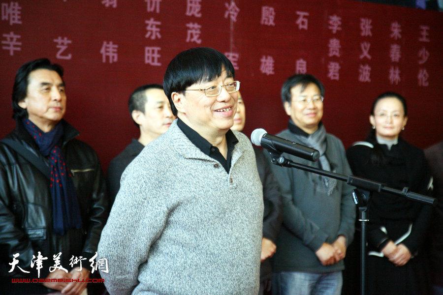 2015中国写实画派十一年展在天津美术馆开展,图为开幕仪式现场。