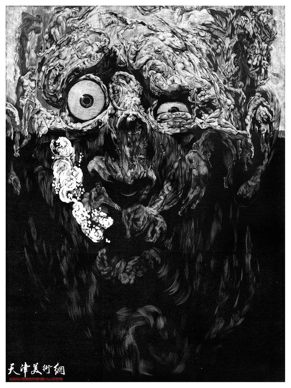 《镜花水月之三》 木口木刻 石磊60x80cm 2013年