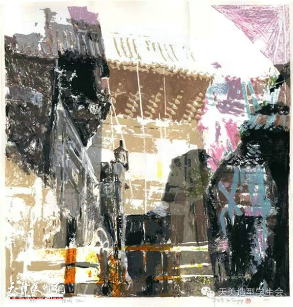 《倾城》 57×58 丝网版画 华绍莹2010年