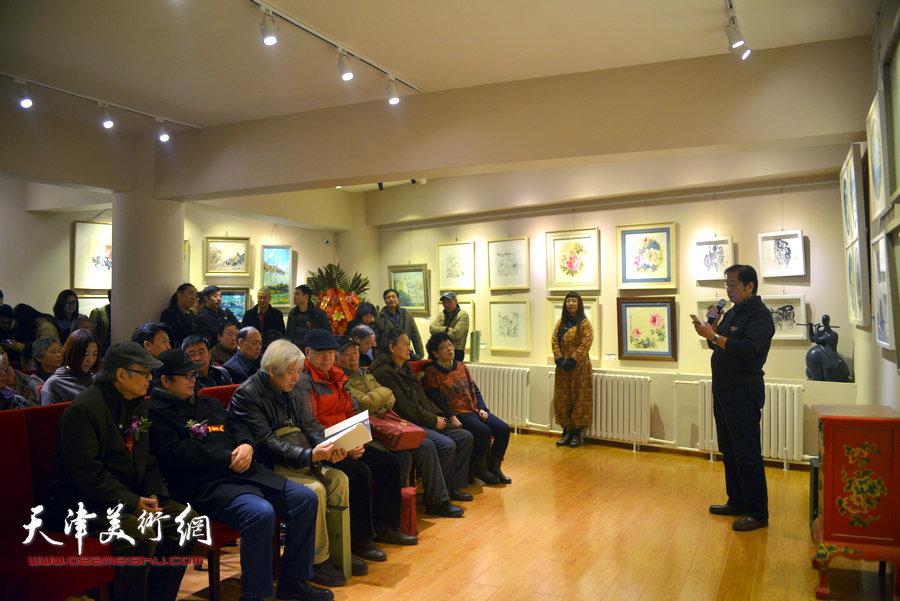 """""""色墨生象—学院派画家小品艺术展""""在天津国墨书画馆开幕。"""