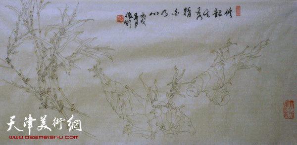 姬振岭白描花卉长卷(局部)