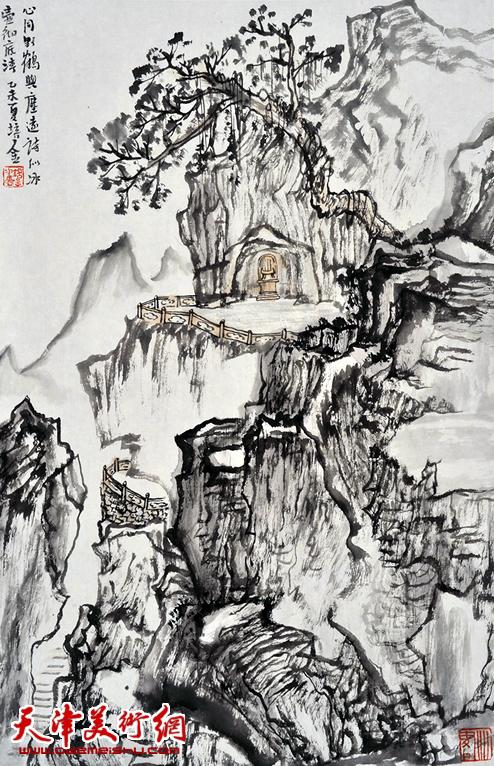 肖培金作品《心同野鹤与尘远》