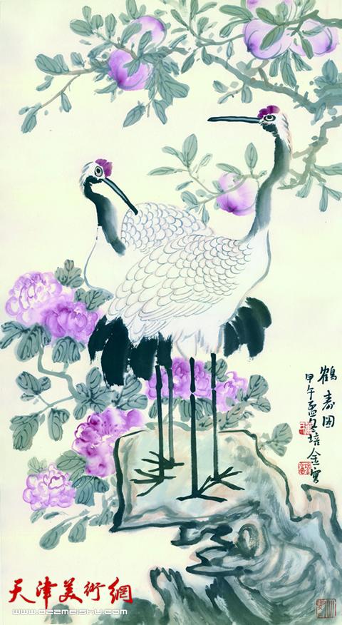 肖培金作品《鹤寿图》