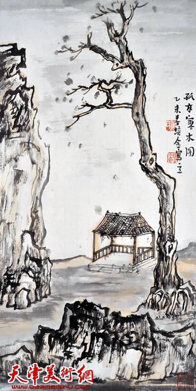 肖培金作品《孤亭寒木图》