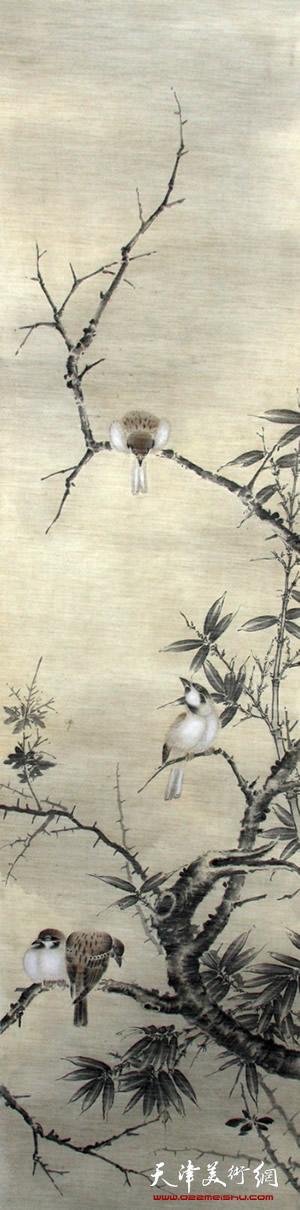 王盟作品《空谷雀禽图》
