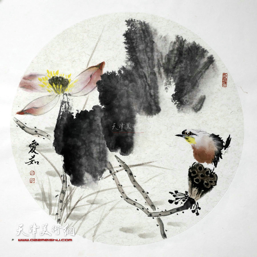 境由心造-天津女画家吕爱茹花鸟画作品。欣赏