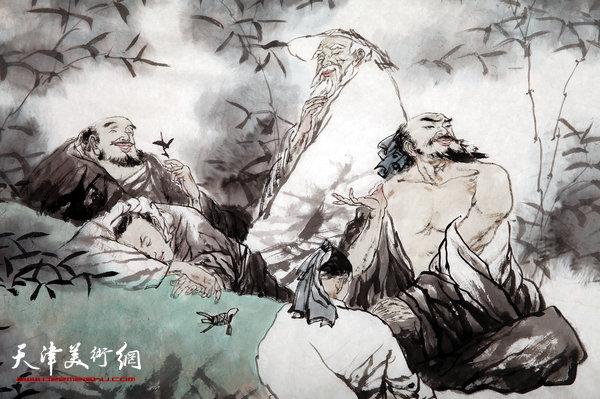 涛人物画新作:竹林七贤 (局部)-天津市政协人物画艺术研究院成图片