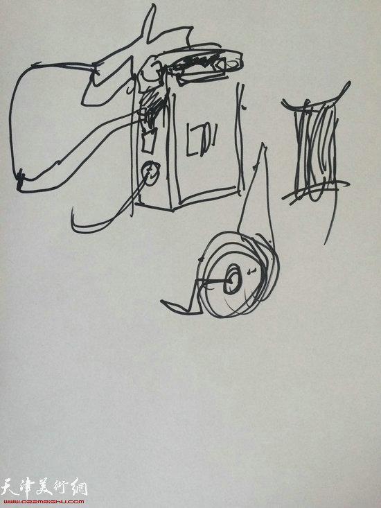 沈尧伊先生为学生们讲解画的草图。