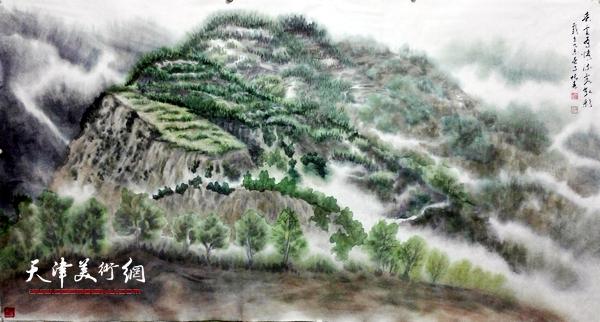 《春风有情  流霞散彩》68×136厘米 宣纸 2015年