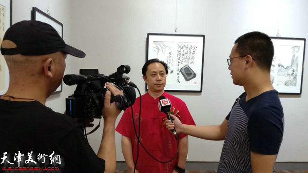 张大功在画展现场接受媒体采访