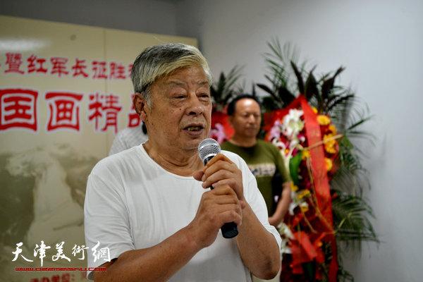 河西区美术家协会顾问、山水画家王连仲致辞。