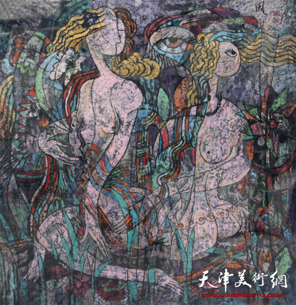 秋之风(彩墨画2008年120X120厘米)_2980