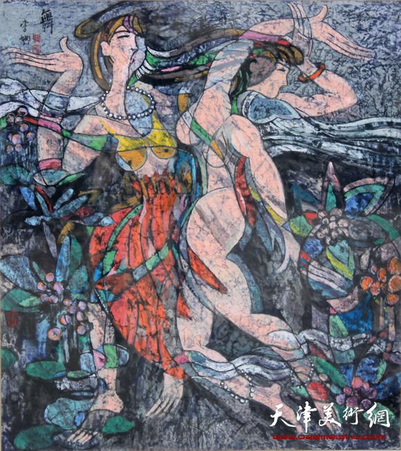 秋之舞 (彩墨画2009年120X120厘米)_2985