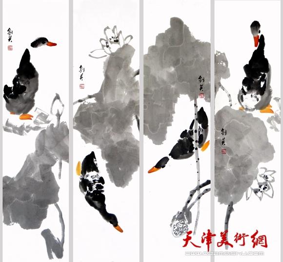 国画鸭子的画法步骤图片