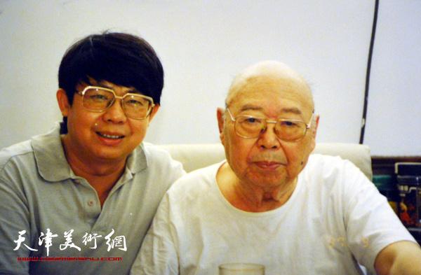 毓岳与父亲溥佐在一起。 (上世纪90年代)