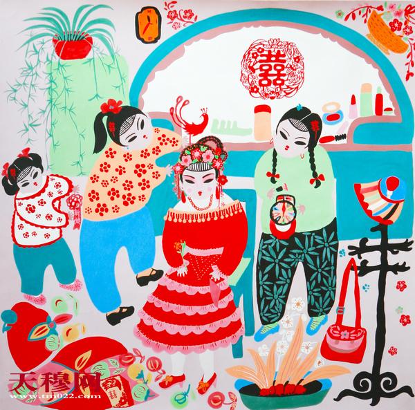 农民画 新嫁娘