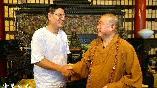组图:少林寺方丈释永信接见天津画家张佩钢