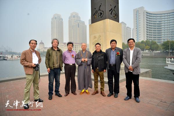 左起:马竞、张亚光、王学书、智如、载庸、郭鸿春、张佩刚在启动仪式上。