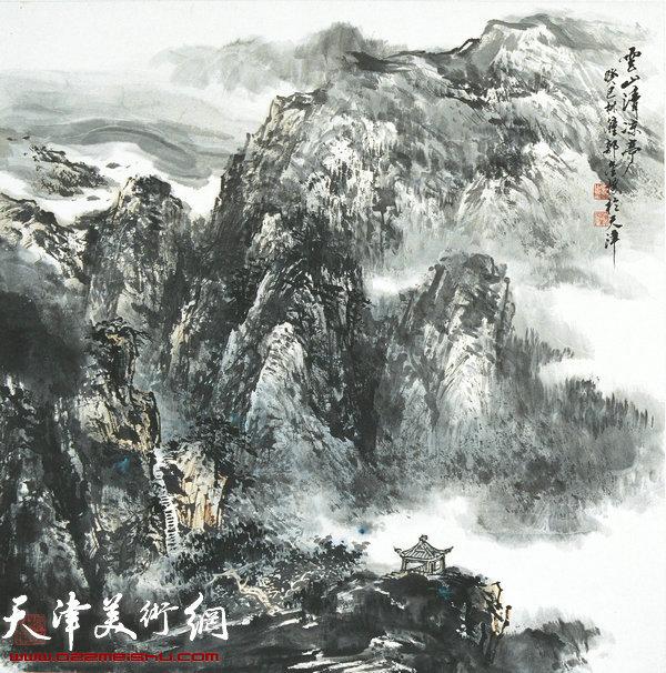 郭金标山水画作品:云山清凉亭
