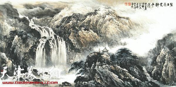 郭金标山水画作品:碧玉飞处静中看