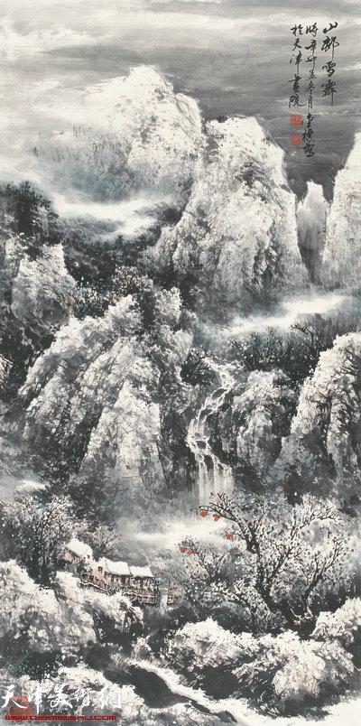郭金标山水画作品:山邨雪霁