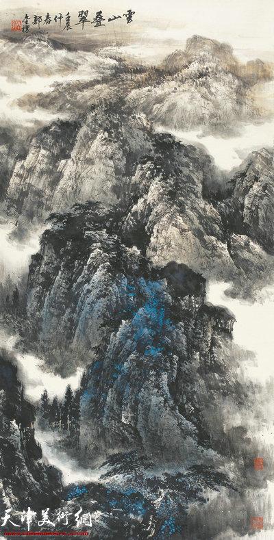 郭金标山水画作品:云山叠翠