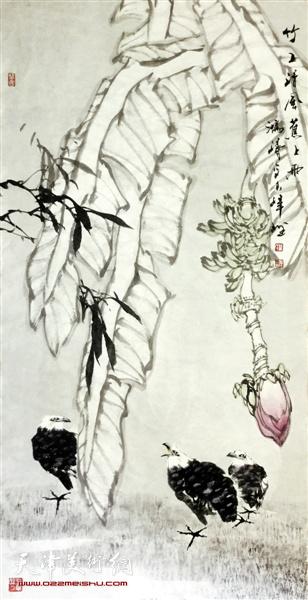 翟洪涛作品:竹子清风蕉上雨