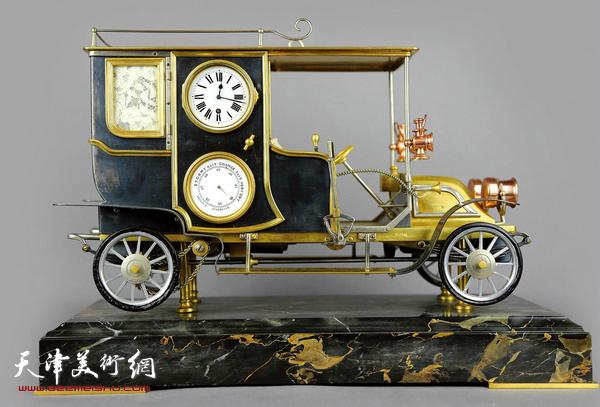 清 法国1907年老爷车模型钟 43CM WIDTH x 20CM HEIGHT