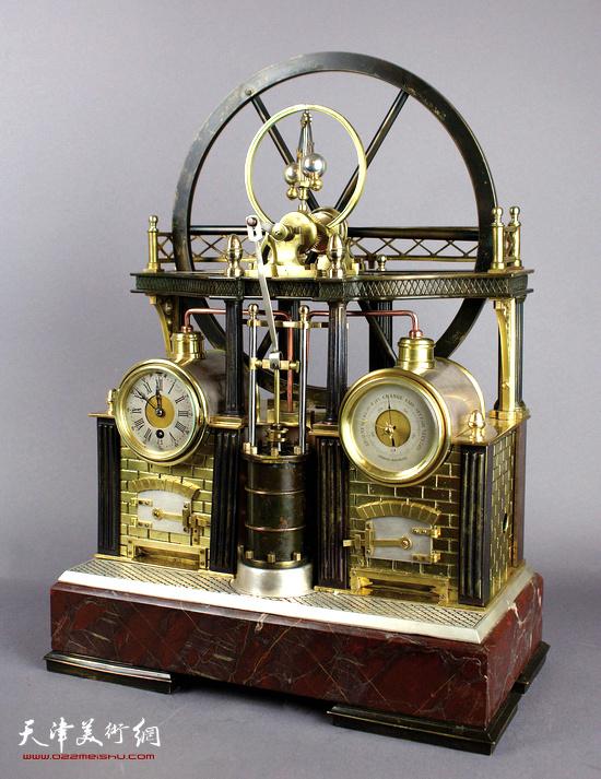法国 1900 年摩天轮蒸汽机模型钟 45CM HEIGHT