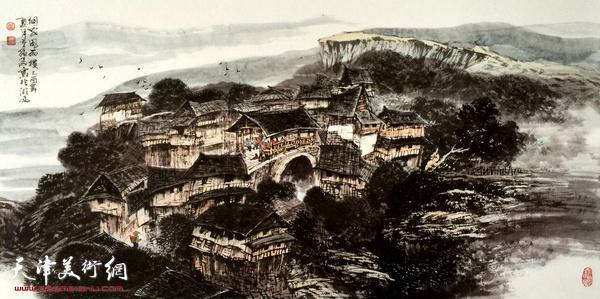 著名畫家董振濤為寶坻賓館創作兩幅巨幅山水畫殺青